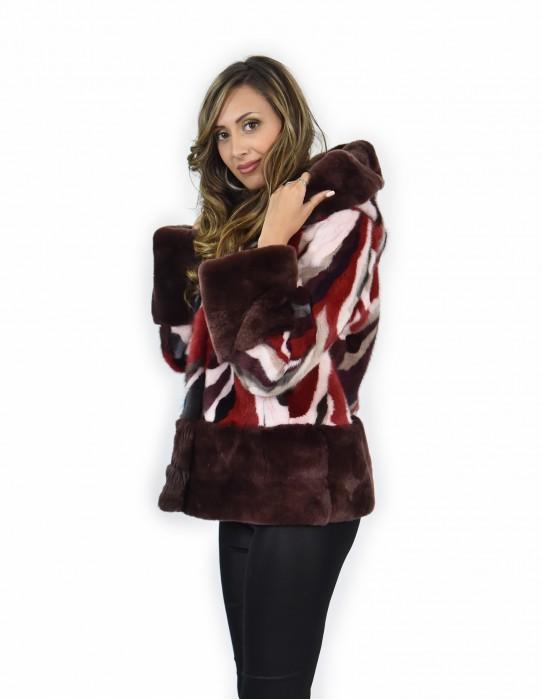 46 Giacca pelliccia di petali di visone e rex multicolore e rosso cappuccio bordato