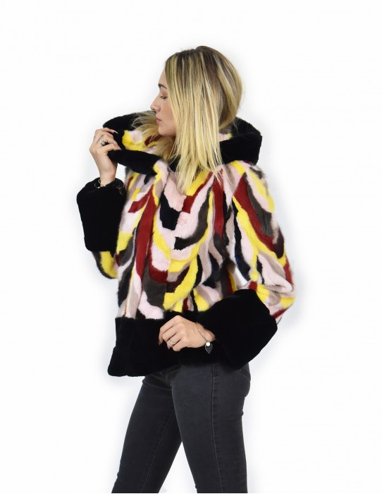 44 Jacket fur mink rex and multicolored petals and black-lined hood