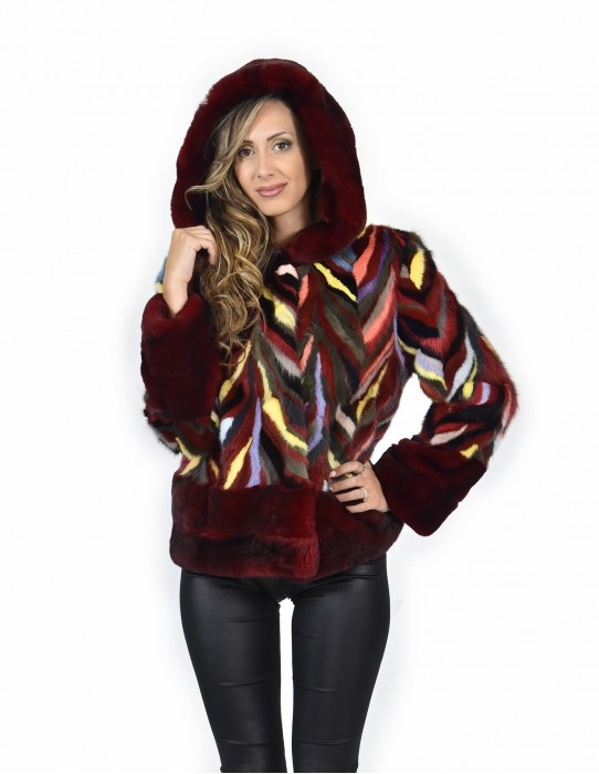 Fur Jacket 44 mink rex and multicolored petals and burgundy lined hood