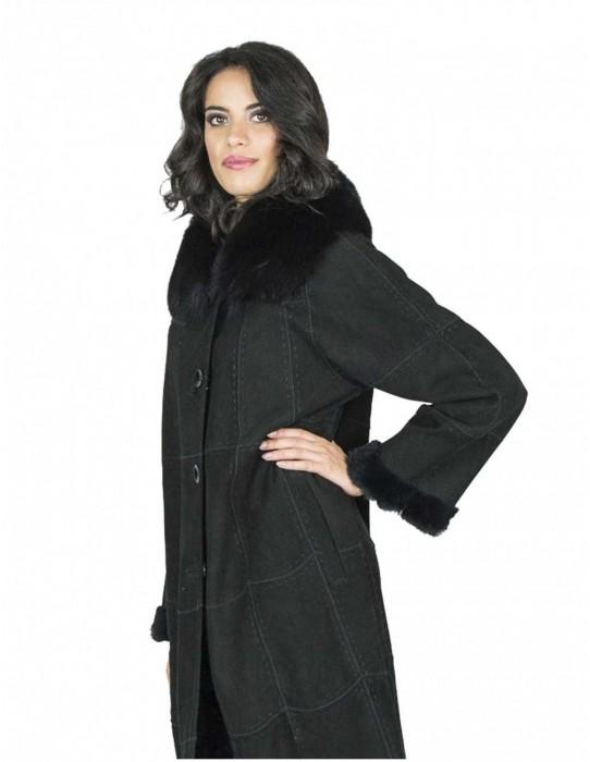 lapin black suede coat fox collar 48 毛皮 fourrure pelliccia mex pelz