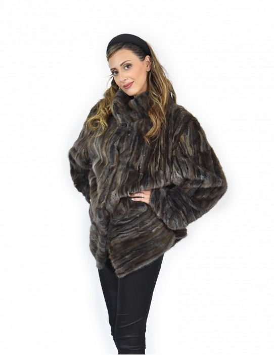 58 horizontal petals Mink coats the bottom and sleeves and full leather brown coat hood