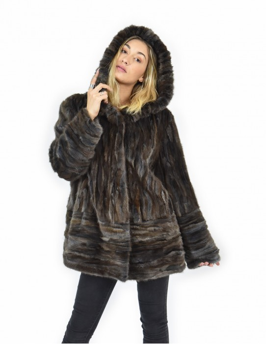 56 Fur horizontal petals mink cap bottom and sleeves and whole brown leather coat