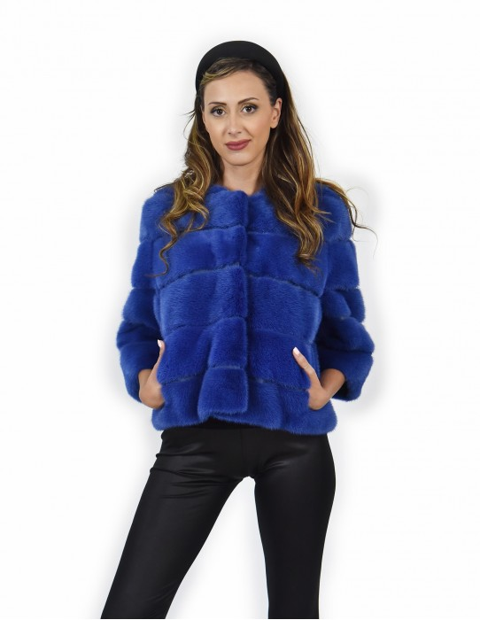 Fur 48 horizontal whole skin mink jacket with light blue leather carrying crater