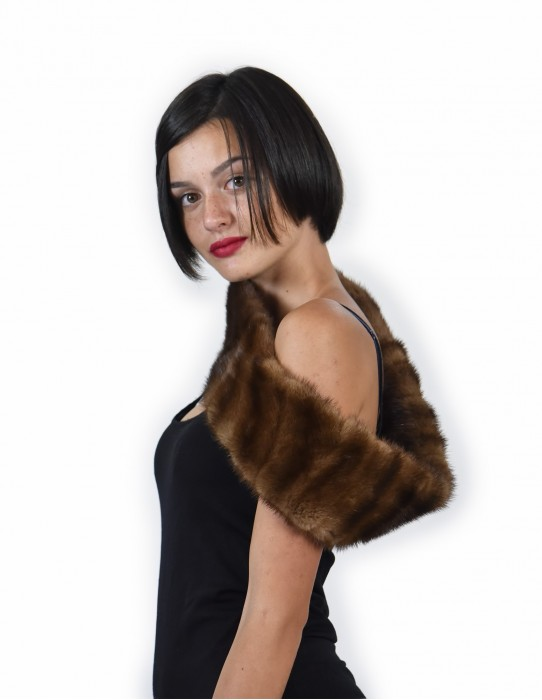 of horizontal mink fur collar color dark demi buff neck