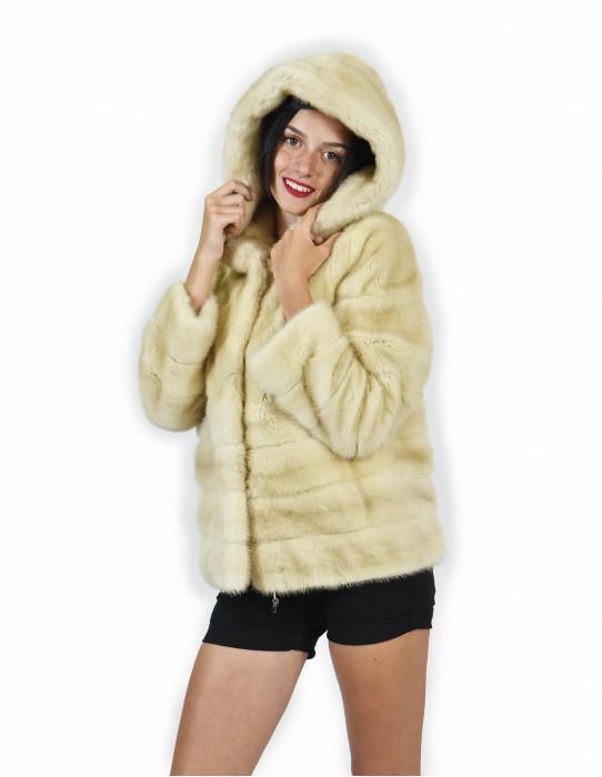 44 Pelliccia di visone pelle intera e orizzontale fondo e maniche palomino cappotto cappuccio