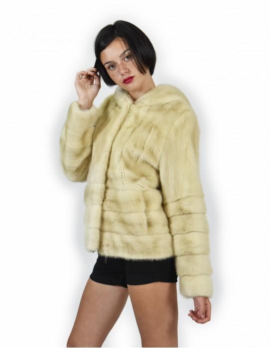 44 Mink coats entire skin and horizontal bottom and sleeves palomino coat hood