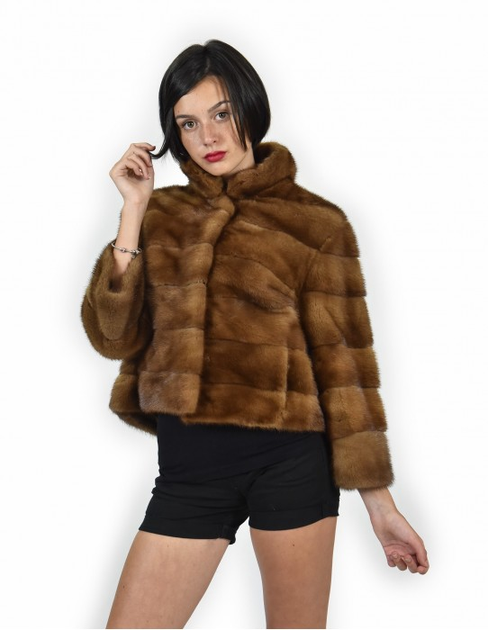 48 Mink coats piping entire gold leather jacket horizontal women