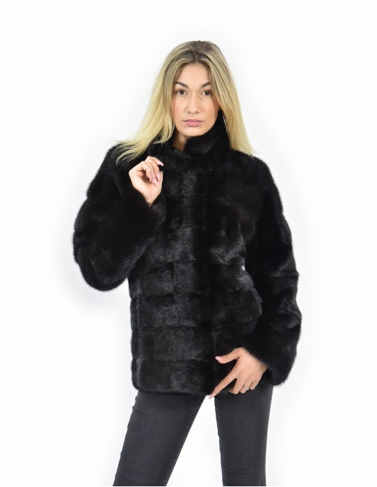 44 Jacket 64 cm color black mahogany mink fur piping entire horizontal leather drawstring