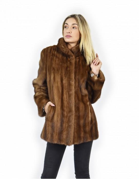 48 Cap honey mink shipping whole leather coat vertical machining