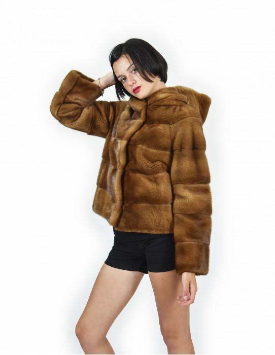 52 Jacket color gold mink fur horizontal entire hood skin 61 cm