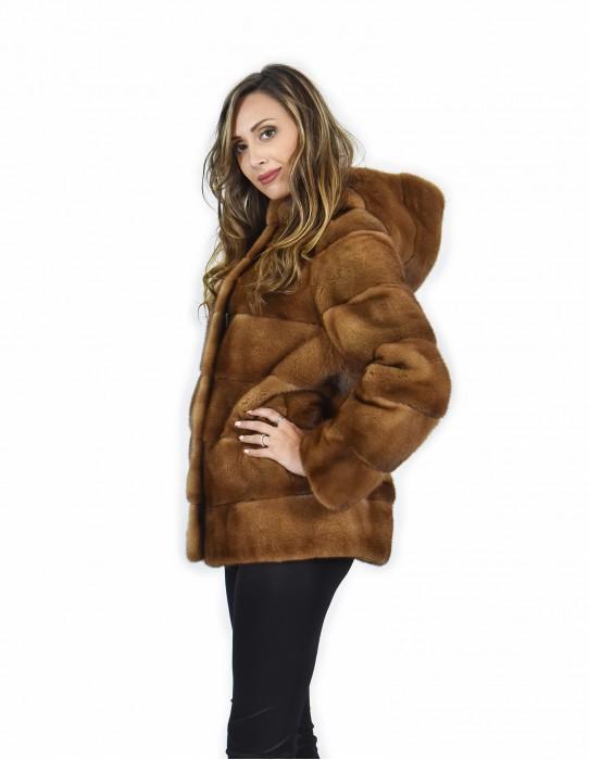 46 Giacca 71 centimetri colore gold pelliccia visone pelle intera orizzontale cappuccio