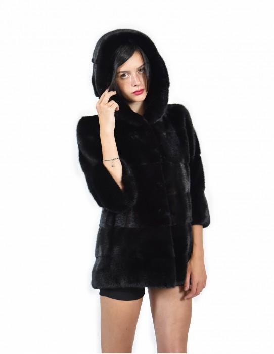 Nerz Pelz Mantel Größe 48 schwarze Hautfarbe volle horizontale Ärmel 3/4 Kapuze