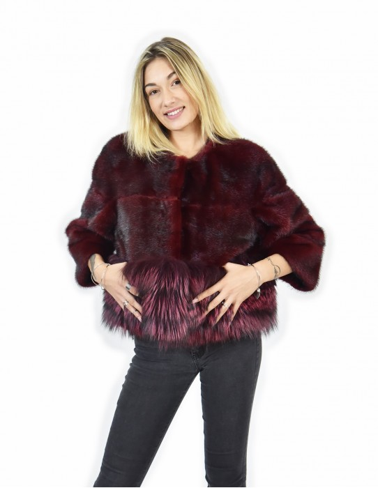 Mink coats and jacket size 44 red fox horizontal entire skin neck crater