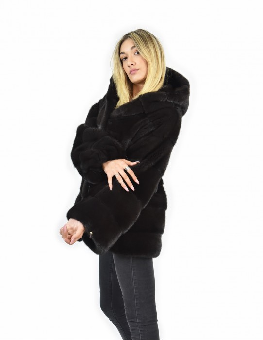 mink fur coat size 46 skin color horizontal whole aurora long sleeve hooded