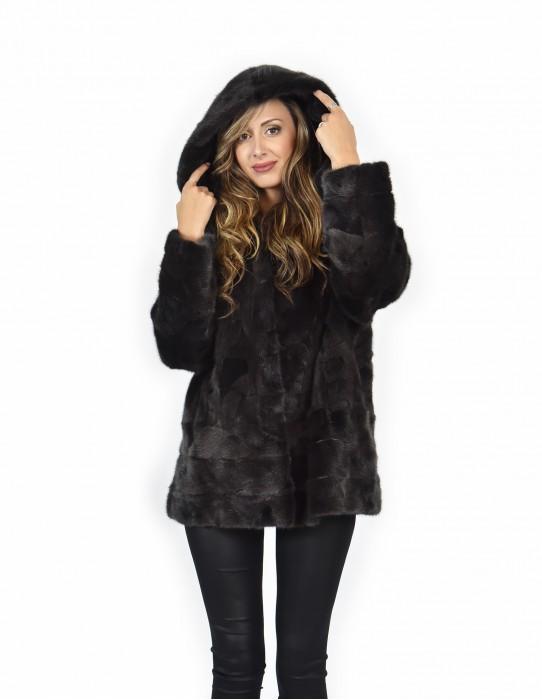 52 Cappotto mantella grigio visone pelle intera orizzontale con cappuccio