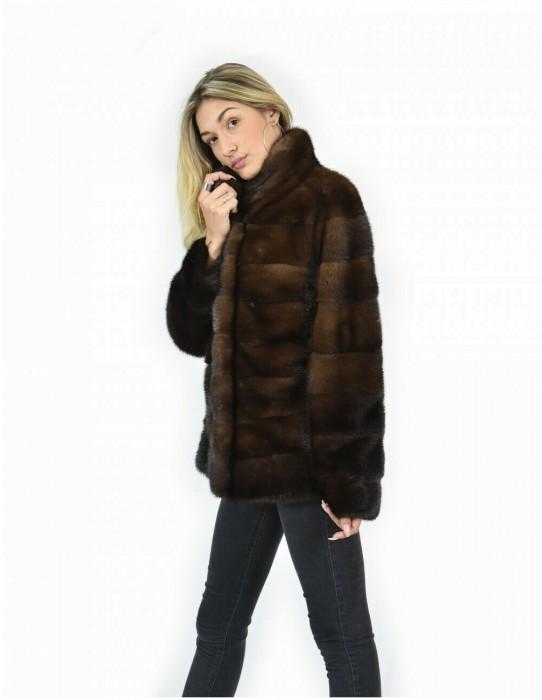 46 Куртка 64см, цвет демиафф, мех, фисташка, норка, вся кожа