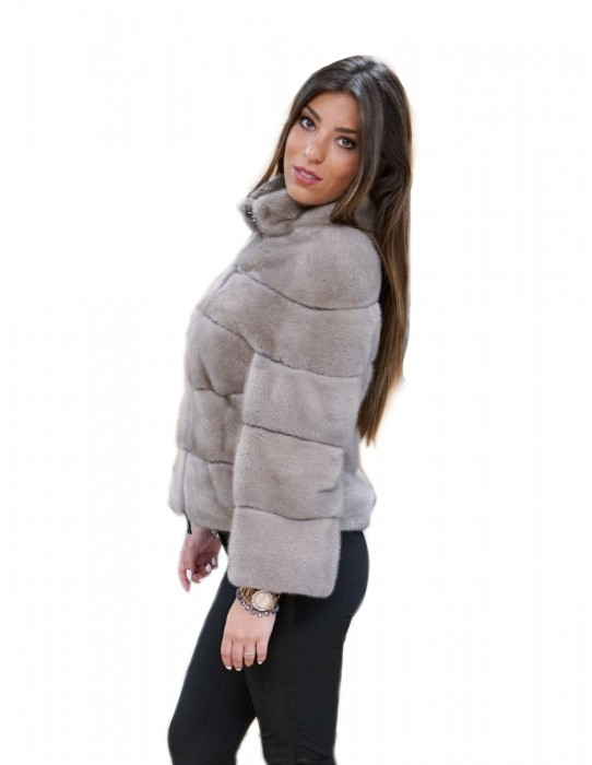 44 silverblue horizontal mink fur jacket with pistane neck zip