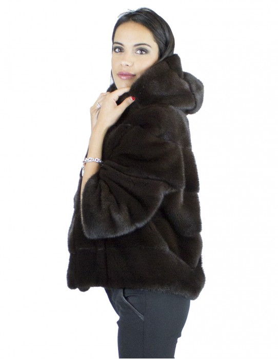 42 Finely worked dark chocolate horizontal mink fur jacket with hood