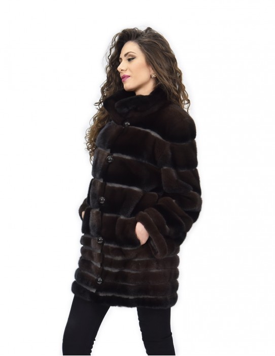 Coat 46 fur mink full skin horizontal Braschi Toffee brown