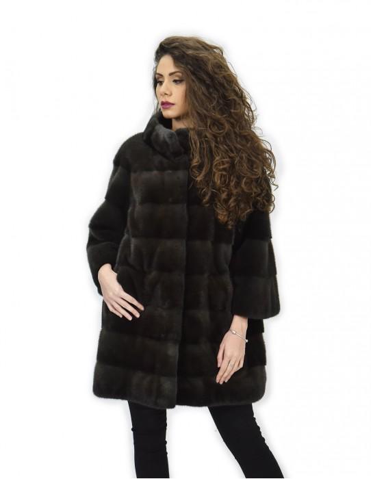 Cappotto 50 aurora pelliccia visone pistagna pelli intere 82cm manica 3/4