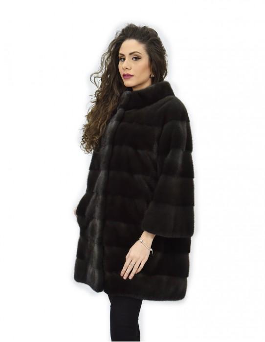 Coat 50 aurora fur mink track and whole skins 82cm sleeves 3/4