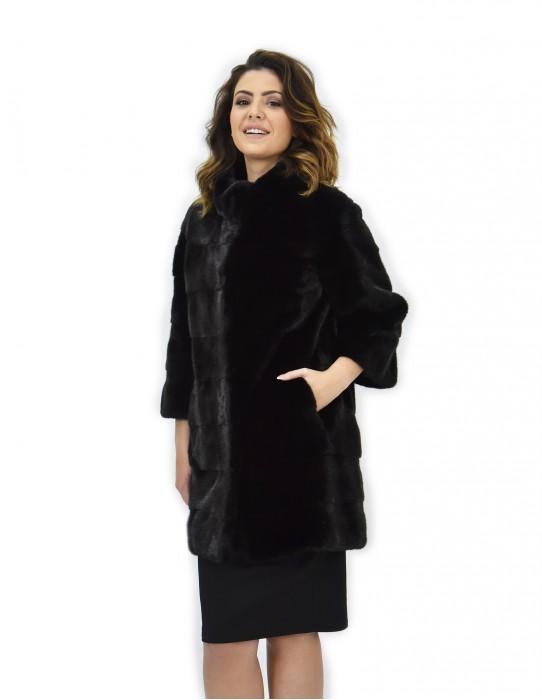 Cappotto 42 nero pelliccia visone pistagna pelli intere 82cm manica 3/4