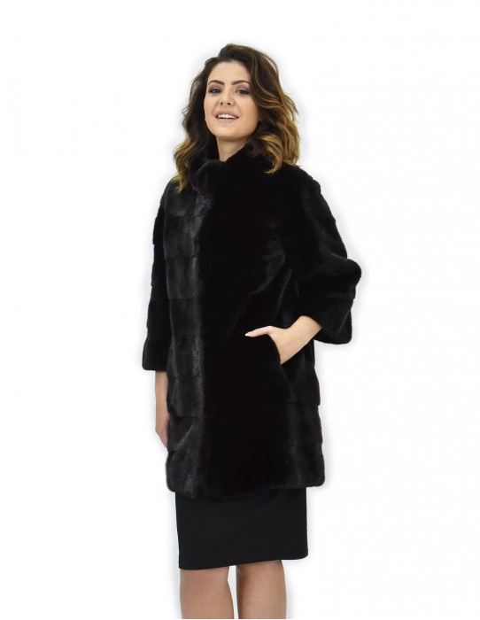 Пальто 42 черный мех аморка трек работы целом шкуры 82cm рукав 3/4