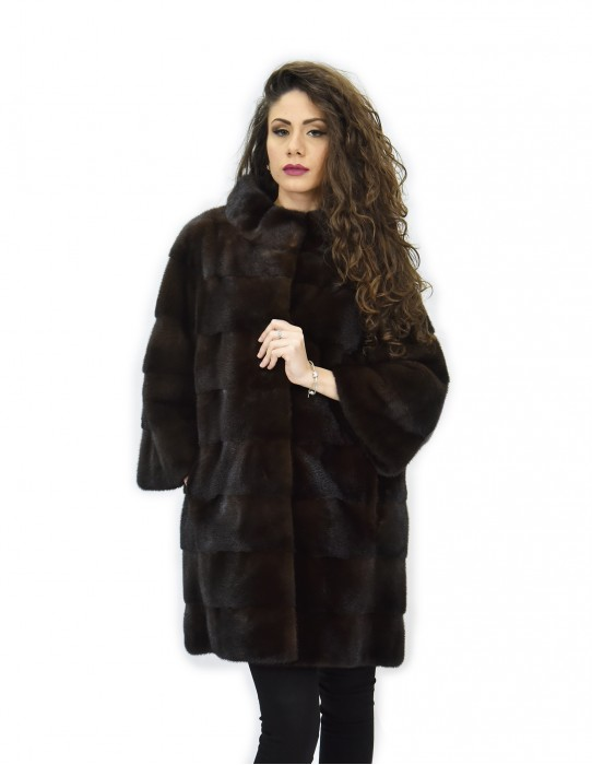 Cappotto 52 mogano pelliccia visone pistagna pelli intere 82cm manica 3/4