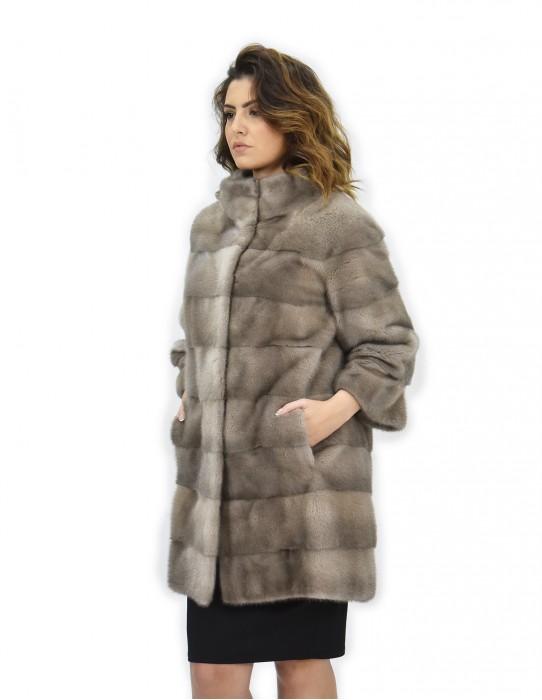 Coat 50 silver blue fur mink track work whole skins 82cm sleeve 3/4