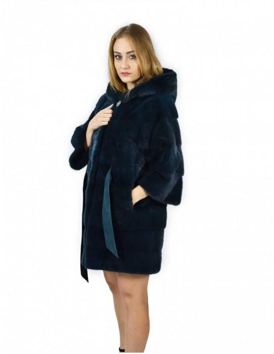 44 Emerald green horizontal mink coat hood 86 cm fourrure de vison