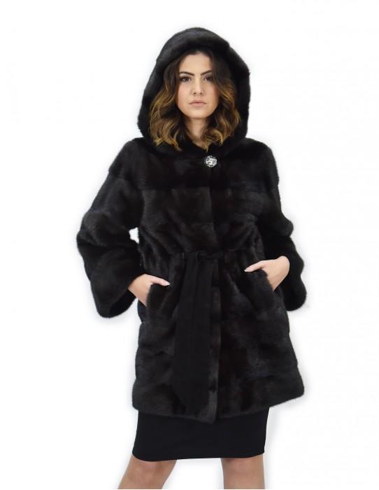 Серое пальто dorsated 48 меха нок с капюшоном длинный рукав кожаный пояс