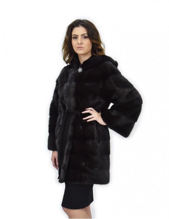 Grey coat dorsated 48 fur mink hooded long sleeve leather belt
