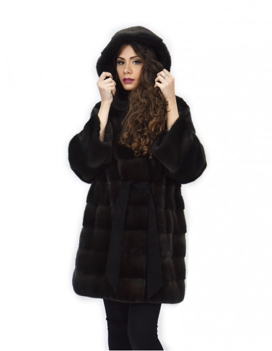 Cappotto aurora 52 pelliccia di visone cappuccio cintura pelle manica lunga