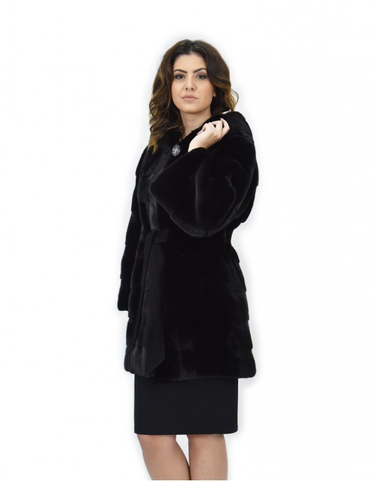 Black coat 46 mink fur hood belt long sleeve