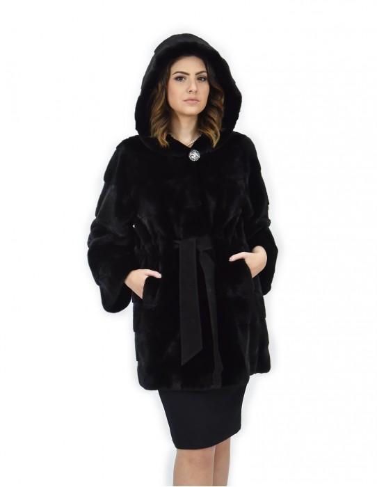 Black coat 50 mink fur hood belt long sleeve