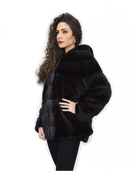 Coat 72 cm gray dorsato 48 horizontal mink fur skins whole long sleeve cap
