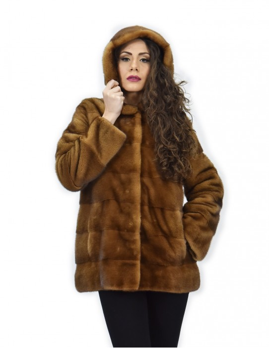 Coat 72 cm golden 42 horizontal mink fur with full long-sleeved leather