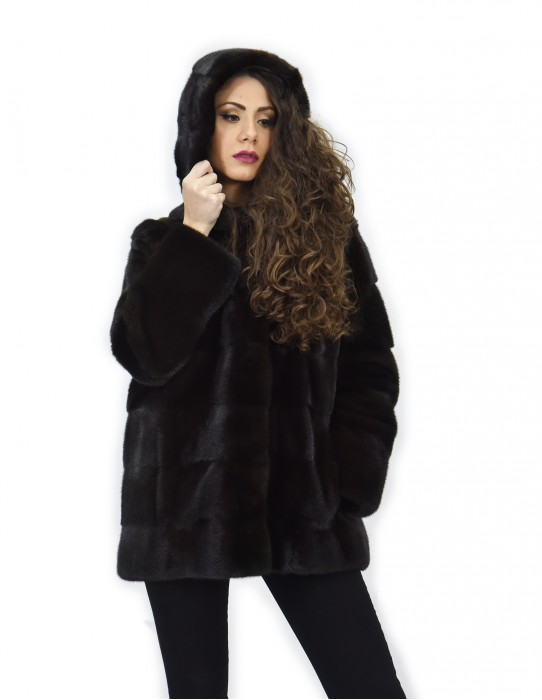 Coat 72 cm mahogany 50 horizontal mink fur with full long-sleeved leather