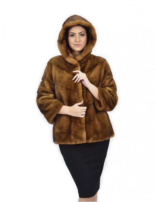 42 Cappotto 62 cm pelliccia golden visone orizzontale trasversale cappuccio manica 3/4