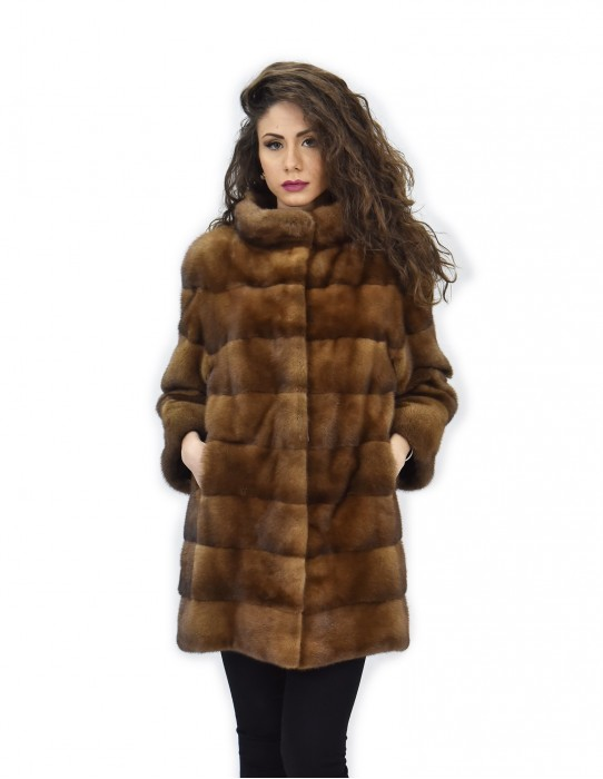 54 Золотой норки пальто 82см горизонтальный трубопровод шеи 3/4 рукав