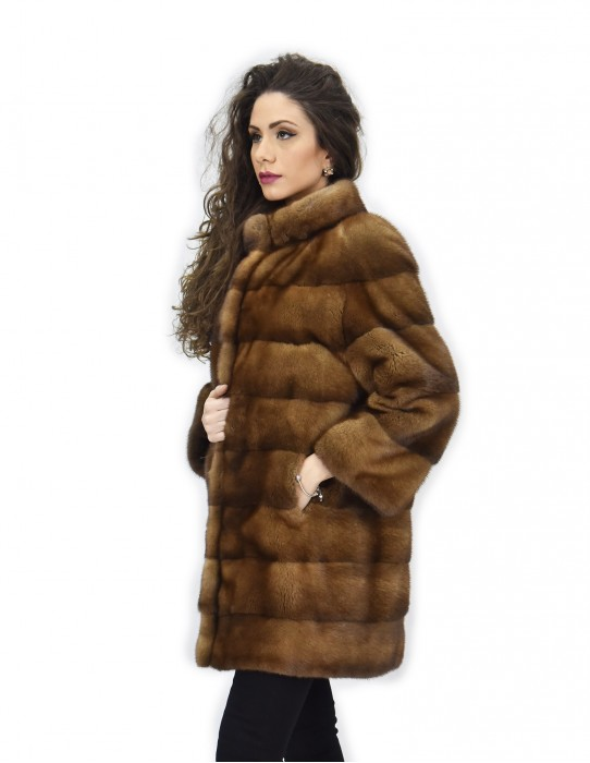 50 Golden mink fur coat 82cm horizontal piping neck 3/4 sleeve