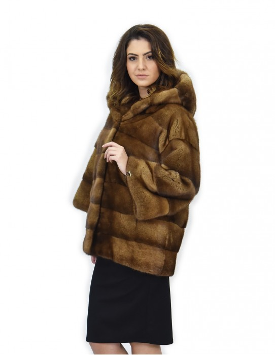 Jacket hood 42 golden mink fur horizontal drawstring wrists hooks