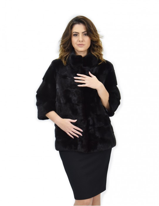 Jacket 46 black horizontal piping bell mink fur pattern 3/4 sleeve