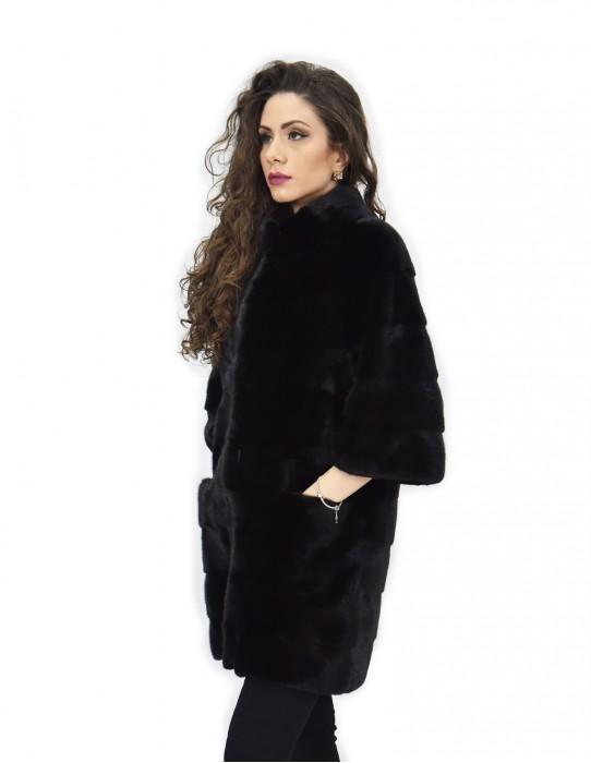 Cappotto taglia 48 84 cm pelliccia orizzontale di visone tasche boccale pistagna