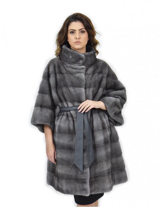 cinta skin fur coat 56 horizontal blue iris mink neck piping