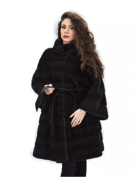 Coat wall skin 54 fur mink dyed dawn horizontal piping neck