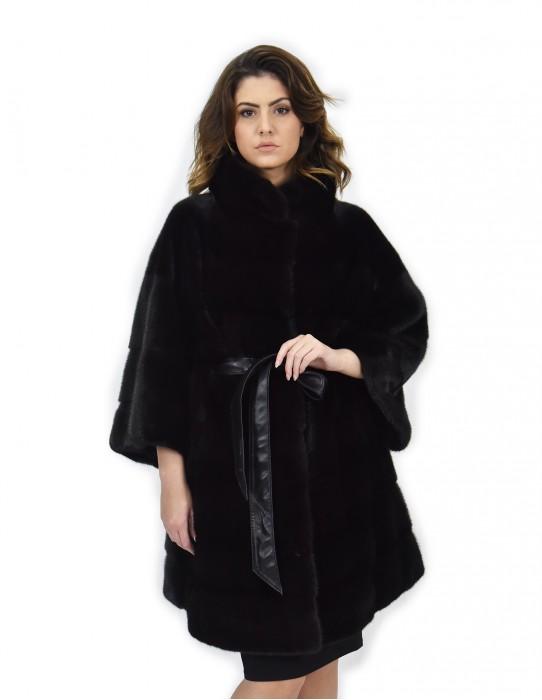 Black leather belt Coat 54 mink fur horizontal piping neck