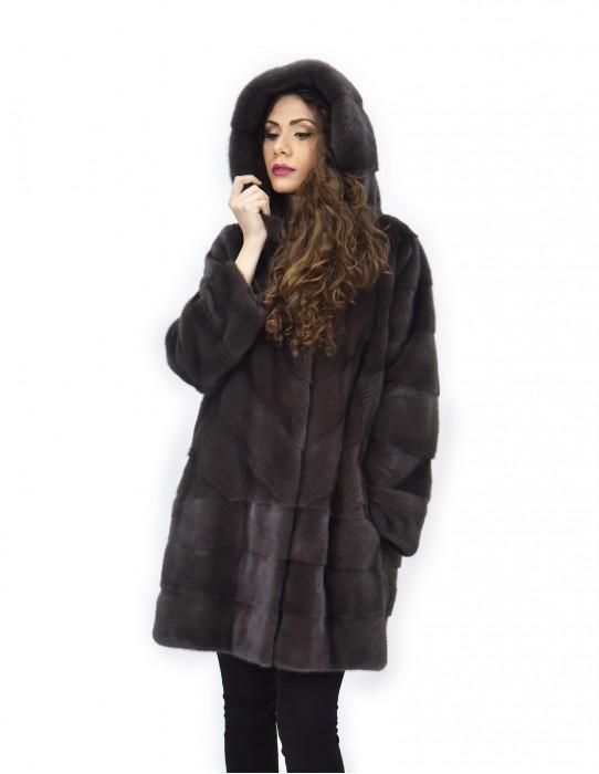 Coat coffee 46 horizontal and transverse mink fur hood 88 cm