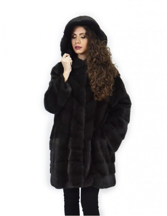 aurora coat 52 horizontal and transverse mink fur hood 88 cm