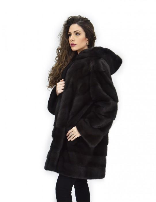 Cappotto aurora 52 visone orizzontale e trasversale pelliccia cappuccio 88 cm